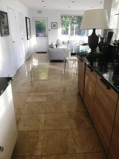 Travertine Floor in Durham After Cleaning