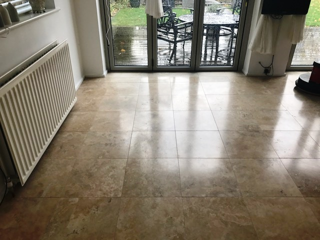 Travertine Floor in Durham Before Cleaning