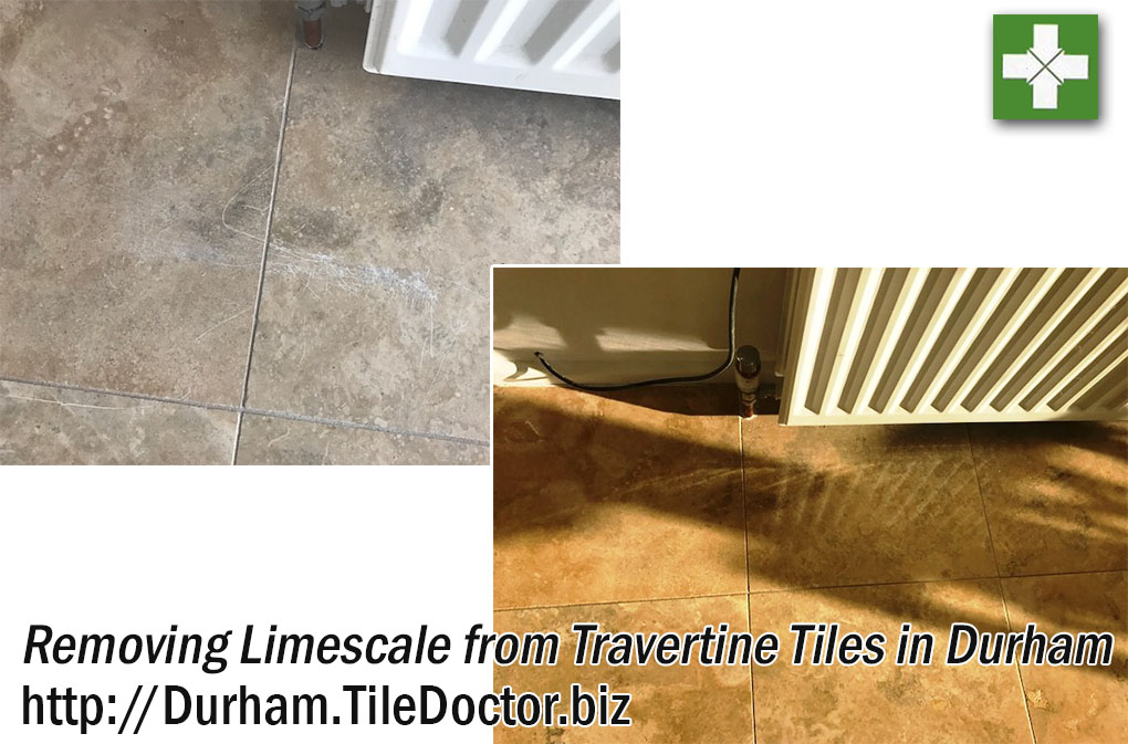 Travertine Tiled Floor Before and After Polishing in Durham