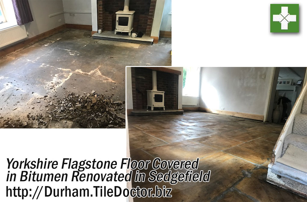Yorkshire Flagstone Floor Before and After Bitumen Removal in Sedgefield