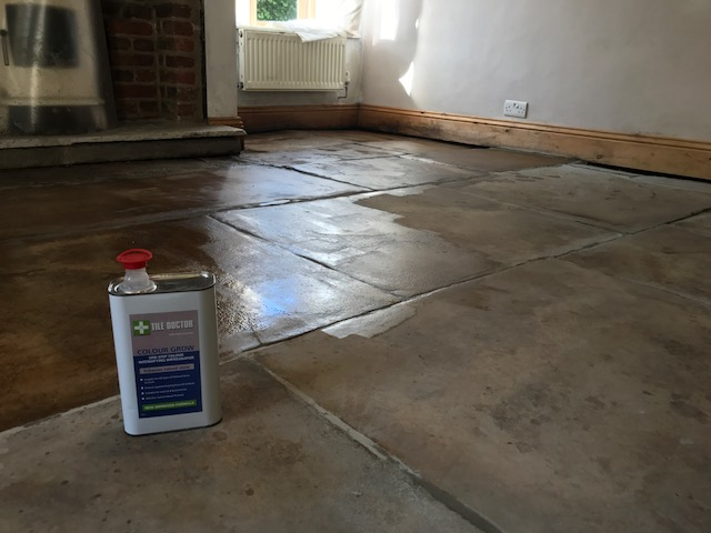 Yorkshire Flagstone Floor Covered in Bitumen During Sealing